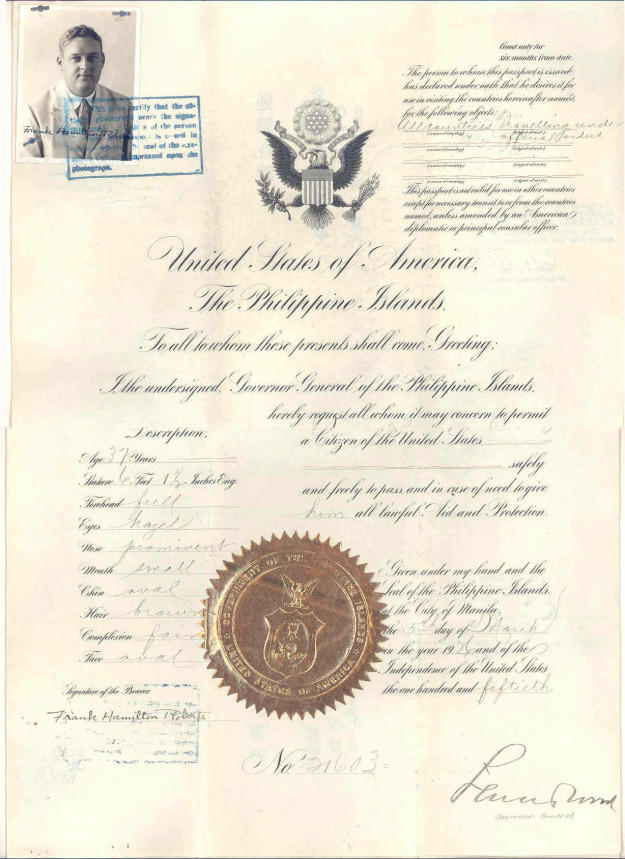 PASSPORT 1926 PHILIPPINE ISLANDS FRANK HAMILTON ROBERTS