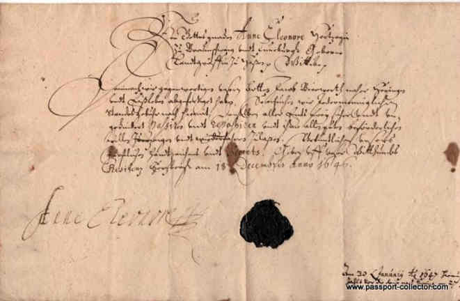Passport (permit to pass) 1646, German, Duchess of Hesse