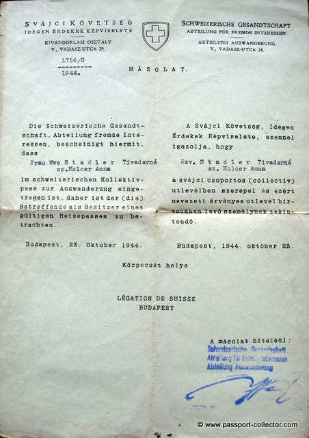 Schutzpass Carl Lutz orig copy