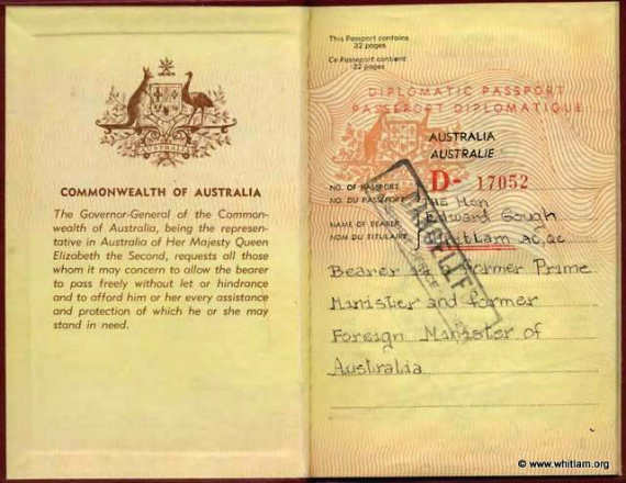 2-1981 Diplomatic Passport for the Hon Edward Gough Whitlam QC MP