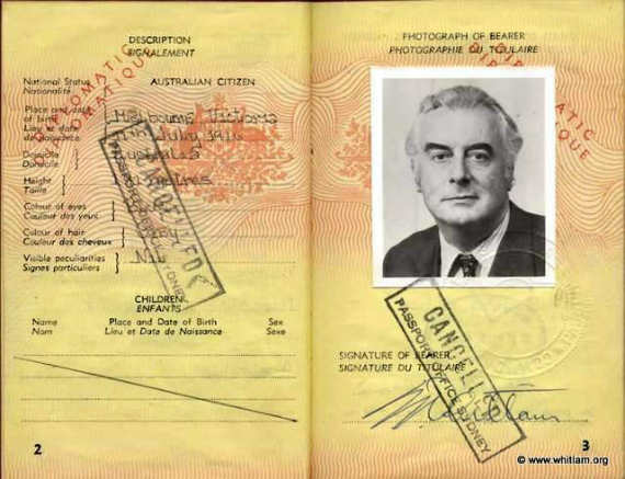 3-1981 Diplomatic Passport for the Hon Edward Gough Whitlam QC MP