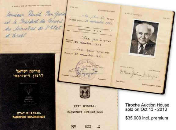 DAVID BEN-GURION DIPLOMATIC PASSPORT 1951