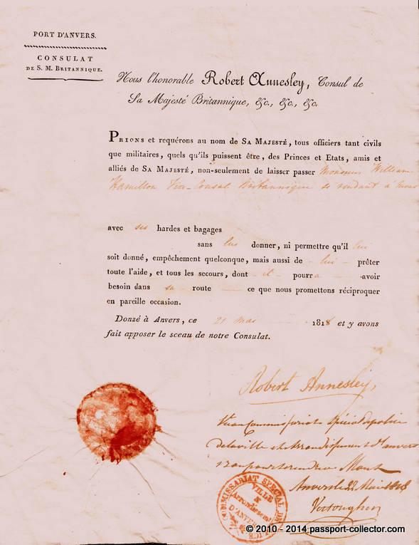 British Passport 1818 For Sir William Hamilton