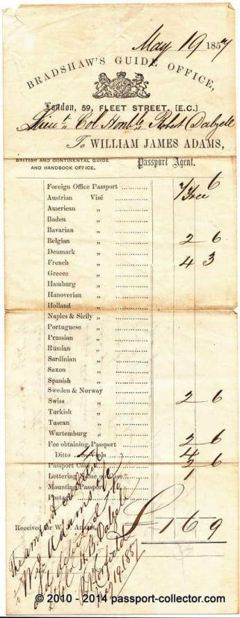 UK passport invoice 1857