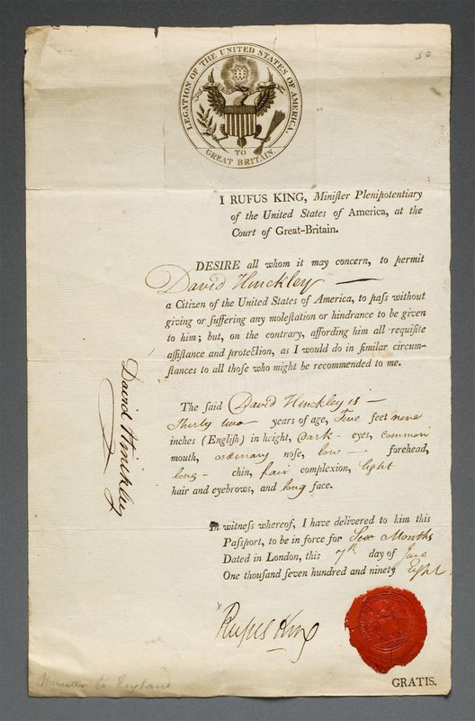 US Passport signed by Minister Rufus  King 1798