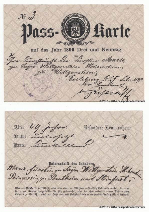 Germany 1893 princess Marie zu Sayn-Wittgenstein-vert