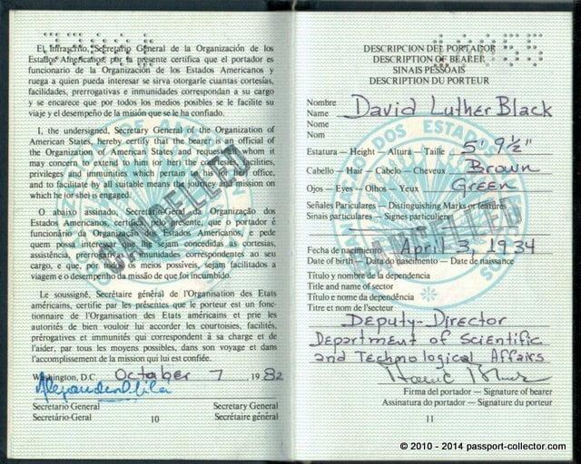 Organization Of American States Oas Travel Document