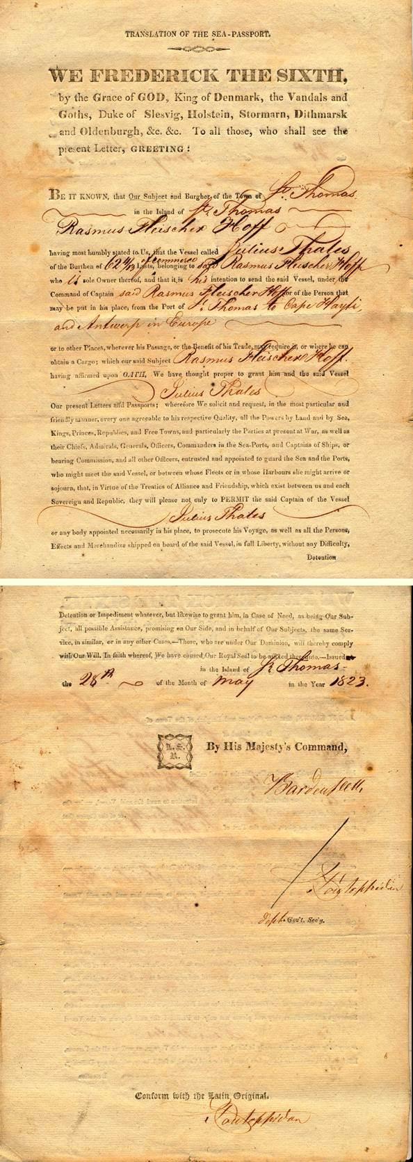 Denmark Sea passport 1823 Virgin Islands-vert