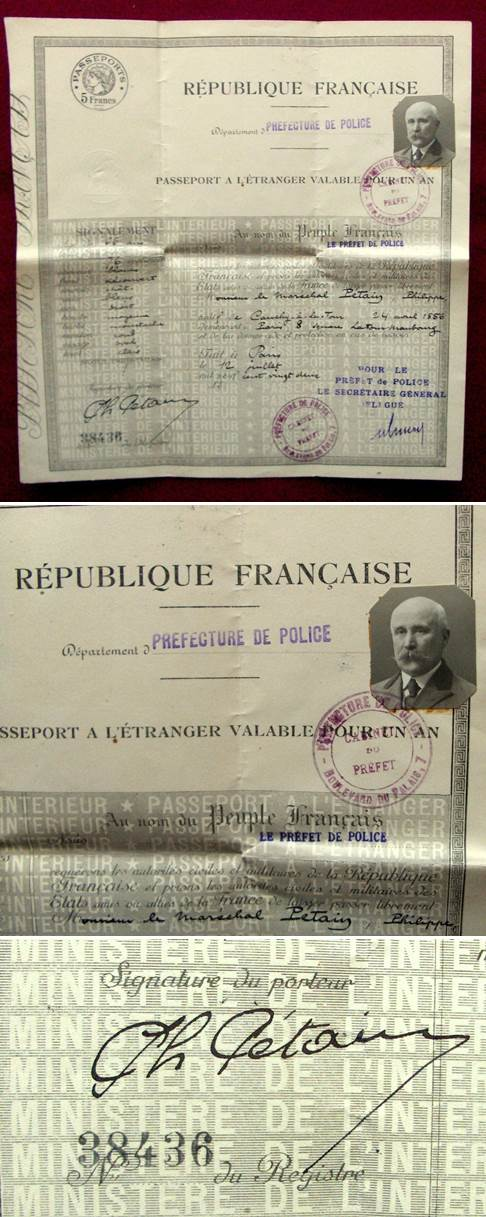 Passport of Philippe Petain - Marshal of France - Chief of State
