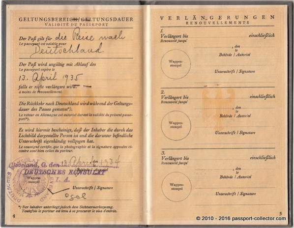 Valid for traveling to Germany. Passport expires April 13, 1935