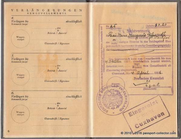 "German visa - multiple entry. Stamp ""Entered Cuxhaven (habour) May 24, 1935"