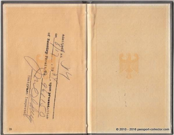 Reentry permit stamp to USA till Aug 17, 1934
