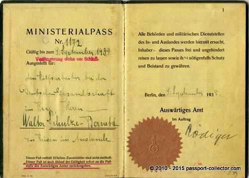 Ministerialpass Schulze-Bernett 1938-001