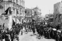 Ottoman troops and Palestinians in Da'wud Street, Jerusalem, 1898