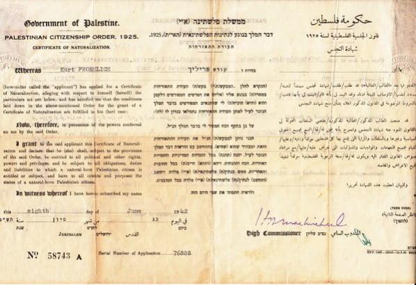 Palestine Naturalization 1942