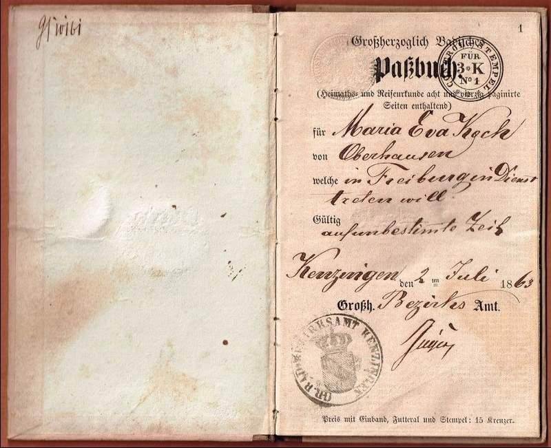 Pass book Baden 1863-001