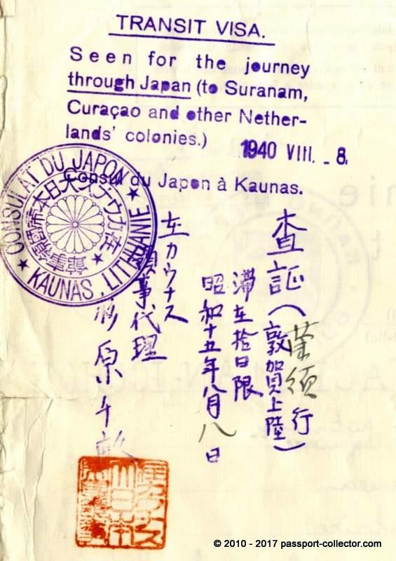 JEWISH TRAVEL DOCUMENT INCLUDING A HIGHLY RARE VISA OF JAPANESE DIPLOMAT CHIUNE SUGIHARA.