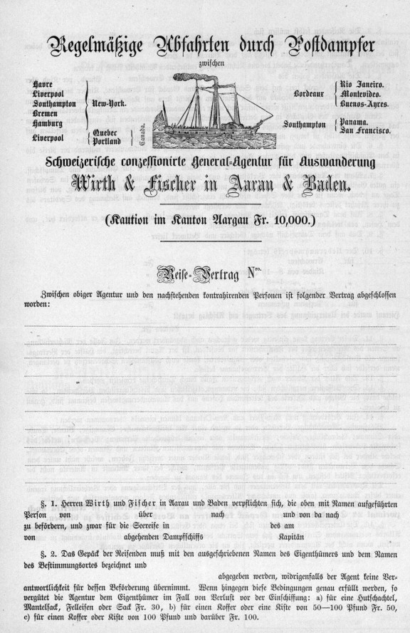 Swiss General Agency for Emigration Contract 1864