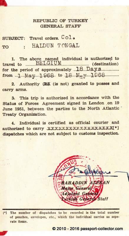 Turkey NATO Travel Order 1968 COSMIC-006