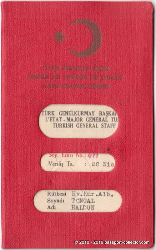 Turkey NATO Travel Order 1968 COSMIC