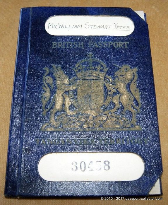 British Passport - Tanganyika Territory - Super Rare!