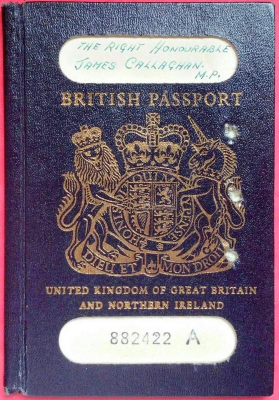 British Prime Minister Callaghan Passport At Auction