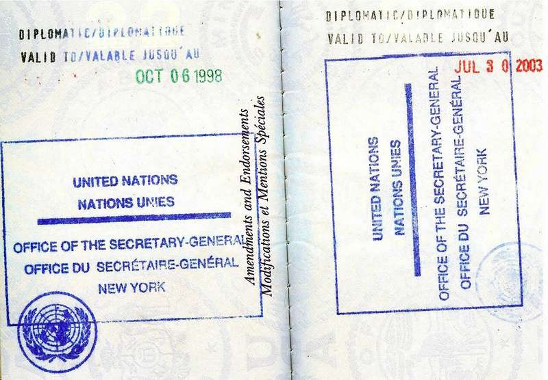 United Nations Diplomatic Visa On Benjamin Franklin Passport