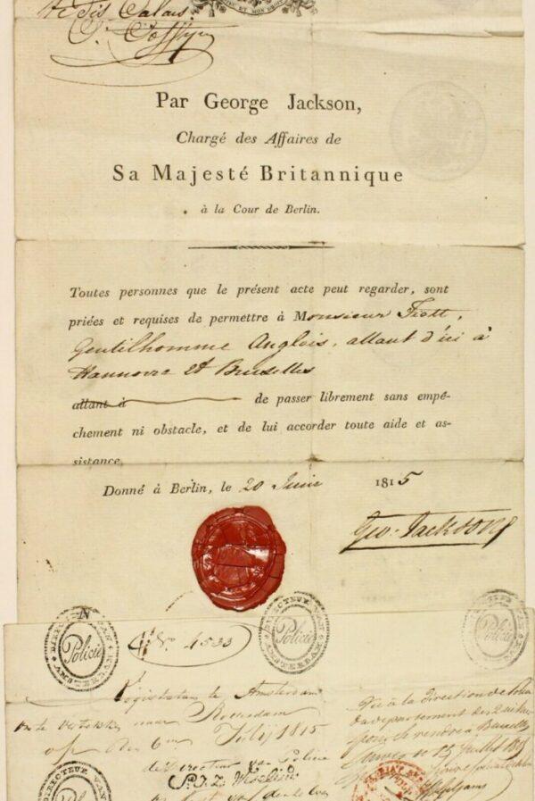 The Grand Tour Abroad British passport 1815 Berlin