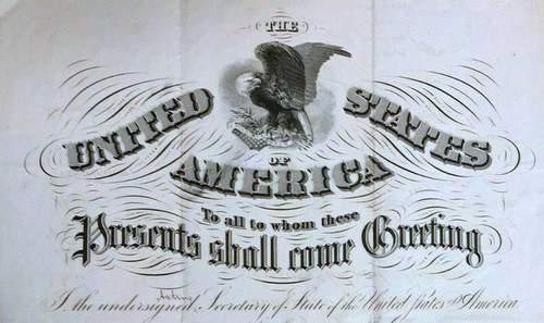 United States Civil War Soldier Passport 1865