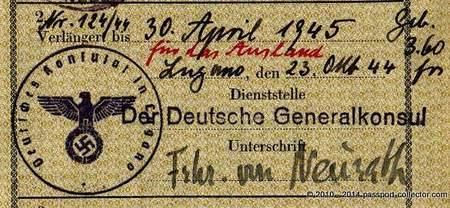 Konstantin Alexander Freiherr von Neurath, German Consulate Lugano