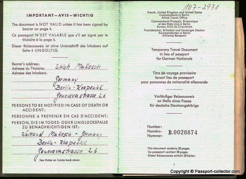 The passport of a STASI unofficial collaborator - Code name PRIMUS