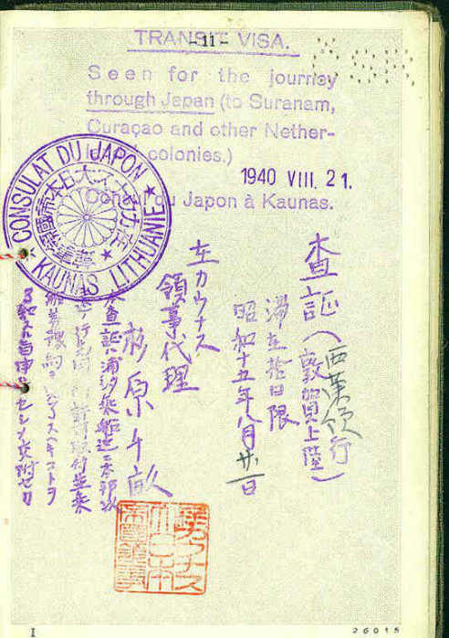 important sugihara passport discovered