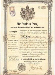 Diplomatic Passport Grand Duke Friedrich Franz Of Mecklenburg 1907
