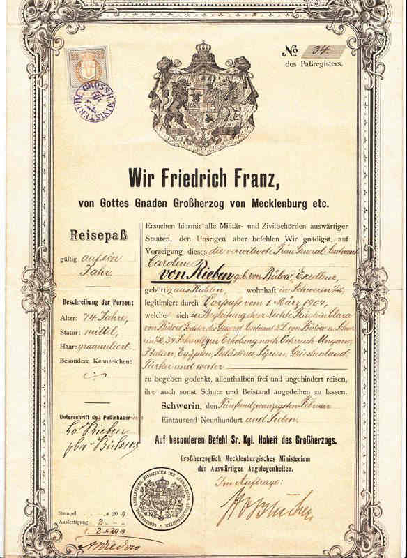 Diplomatic Passport Grand Duke Of Mecklenburg