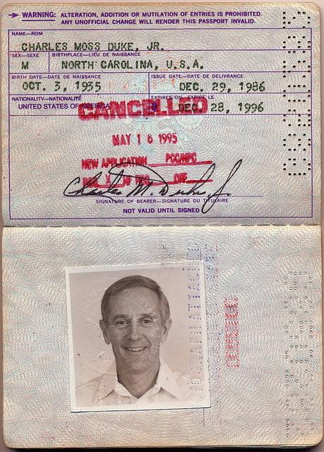 Another outstanding passport – Moon walker Charlie Duke
