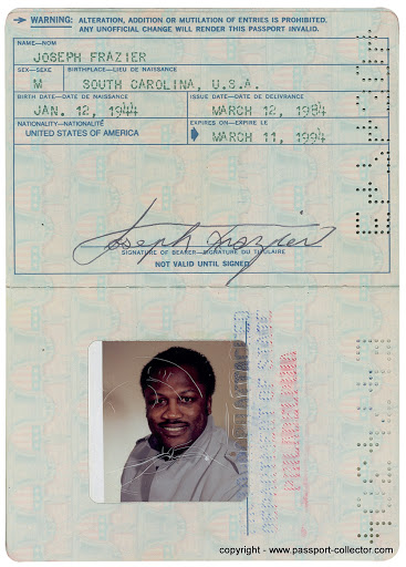 One of Joe Frazier's Passports issued 1984
