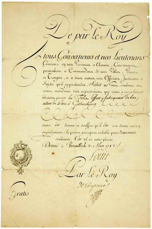 ludvig xvi king of france passport versailles 1782. Black Bedroom Furniture Sets. Home Design Ideas