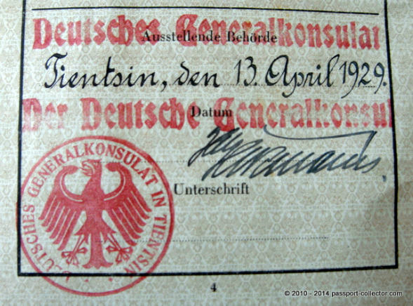 Rare German Passport issued 1929 in Tientsin, China