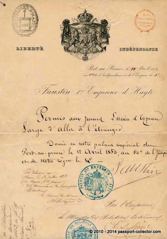 HAITI 1853 PASSPORT EMPEROR FAUSTIN
