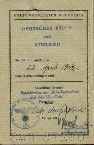German Passport 1945 – SS-Hauptsturmführer & Commander SD