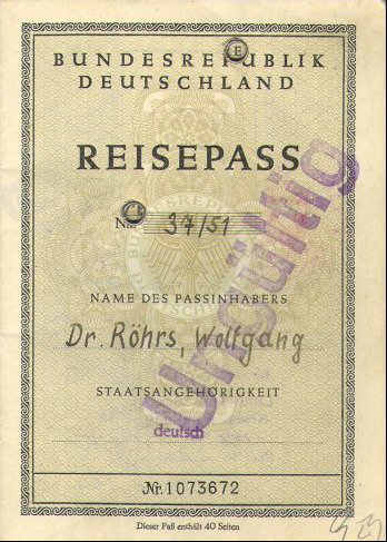 One Of The Earliest Passports Of Federal Germany Issued 1951