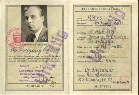 Earliest Passport Federal Germany