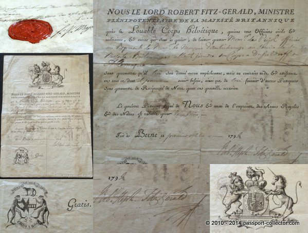British Passport 1792 FITZGERALD Lord Robert Stephen