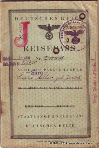 "German Nazi Passport With ""Stamped"" Middle Name SARA"