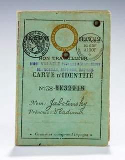 THE ORIGINAL FRENCH ID OF ZEV JABOTINSKY SOLD FOR $25k