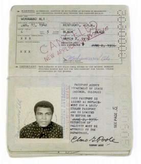 Muhammad Ali 1976-1981 Replacement Passport SOLD