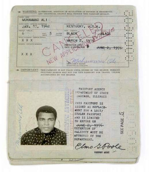 Muhammad Ali passport 1976