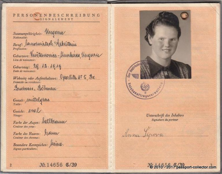 German Alien Passport 1942 Bohemia and Moravia