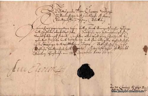 German Passport 1646 – Duchess of Hesse