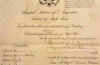 United States Passport  – Island of Puerto Rico 1926